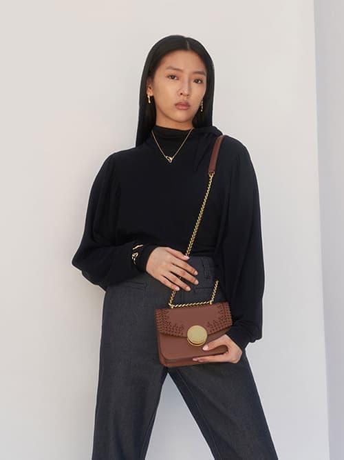 Woven Double Chain Handle Bag, Chocolate