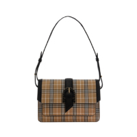 LEATHER CHECK PRINT BUCKLED BAG