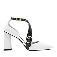 TWO TONE BUCKLE DETAIL CRISS CROSS BLOCK HEEL PUMPS