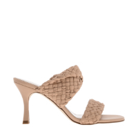 DOUBLE STRAP WOVEN HEELED MULES
