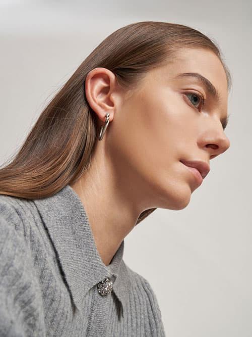 Swarovski® Crystal Embellished Heart Hoop Earrings, Silver