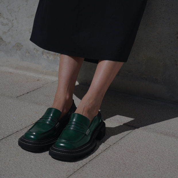 Women's Perline chunky loafers in dark green, as seen on Xiayan Guo - CHARLES & KEITH