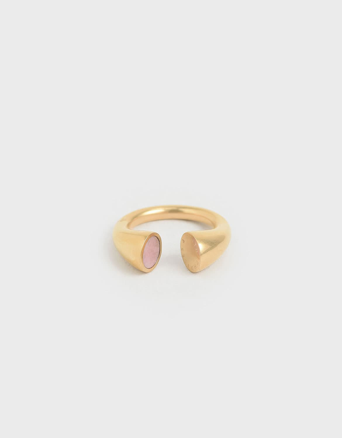 rose quartz open ring in gold – CHARLES & KEITH