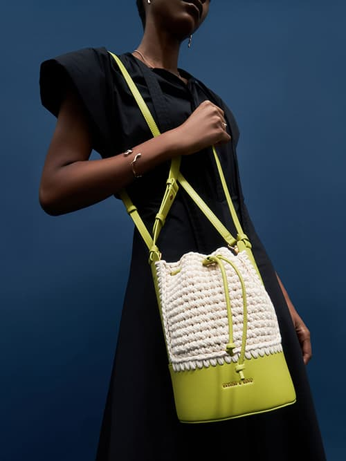 Crochet Drawstring Bucket Bag, Olive