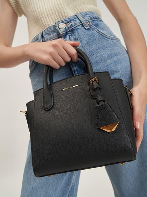 經典拉鍊手提包,黑色