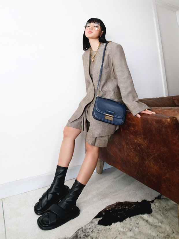 Women's Charlot crossbody bag and Lucile flat calf boots, as seen on Chau Bui - CHARLES & KEITH