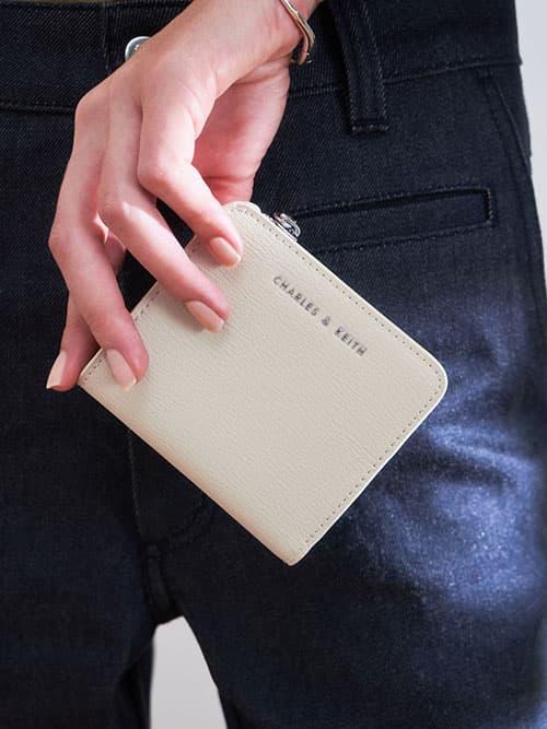Zip Around Card Holder, Cream