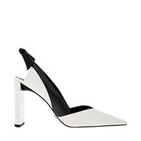 Leather Croc-Effect Bow-Slingback Heels