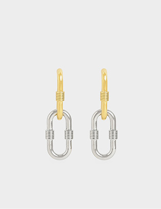 RIBBED TWO-WAY CHAIN LINK EARRINGS