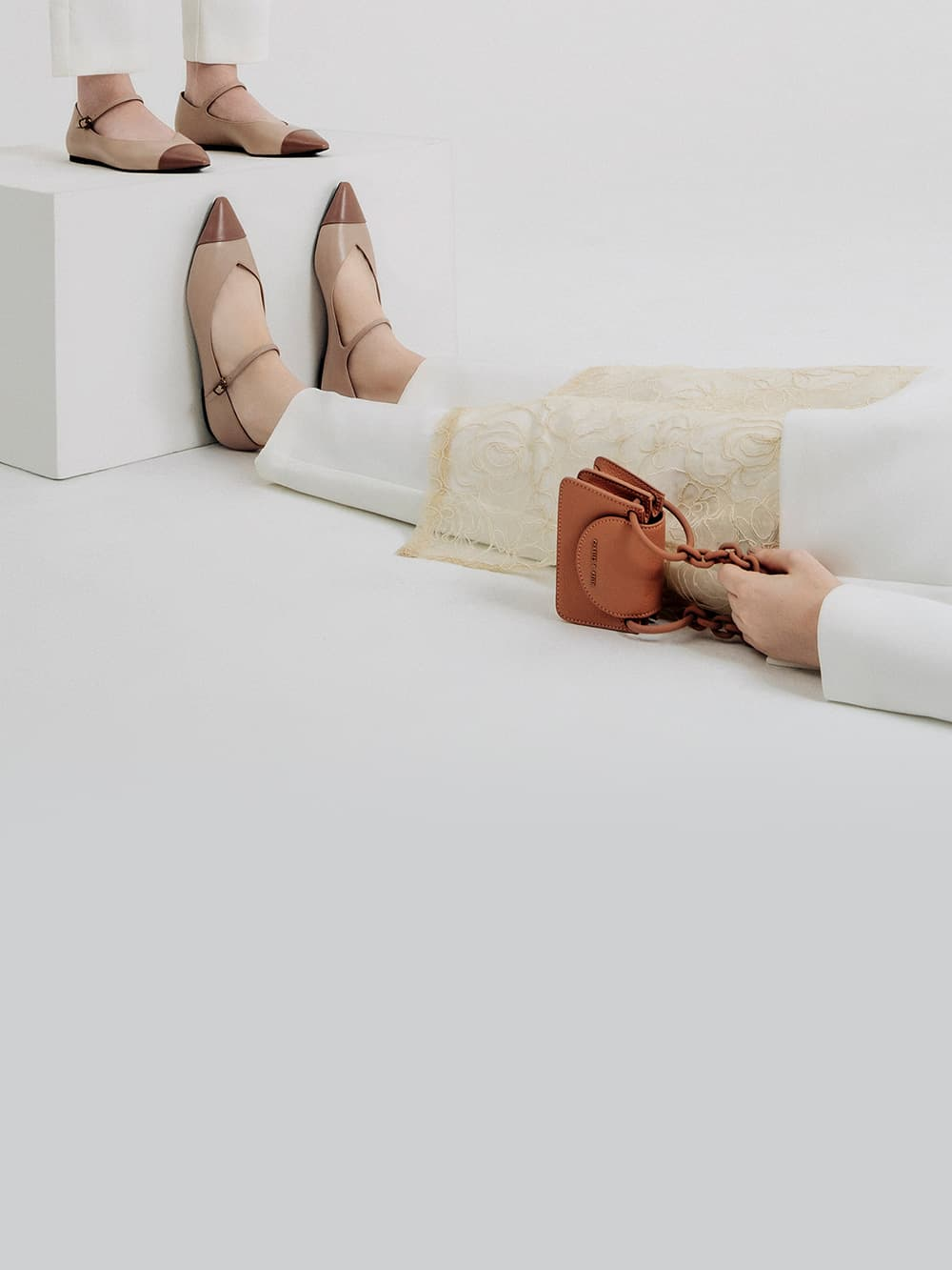 Women's two-tone pointed toe mary jane flats in nude and chunky chain handle mini bag in blush - CHARLES & KEITH