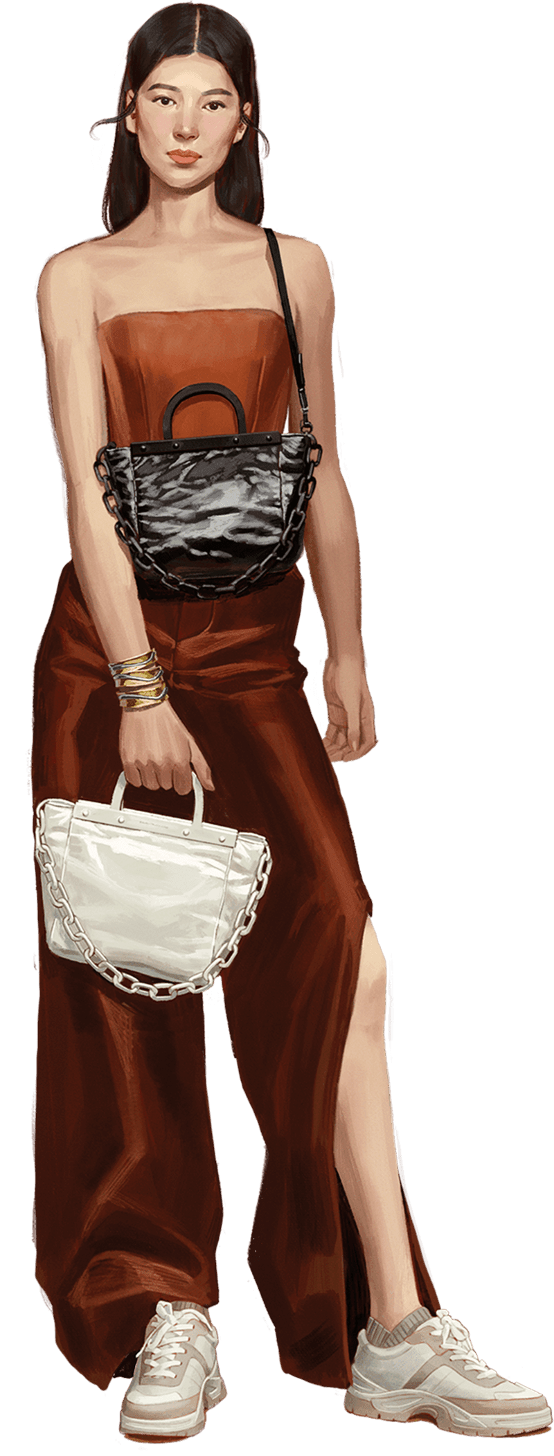 A compilation of illustrations from the CHARLES & KEITH Fall Winter 2020 campaign - CHARLES & KEITH - Web - Model 3