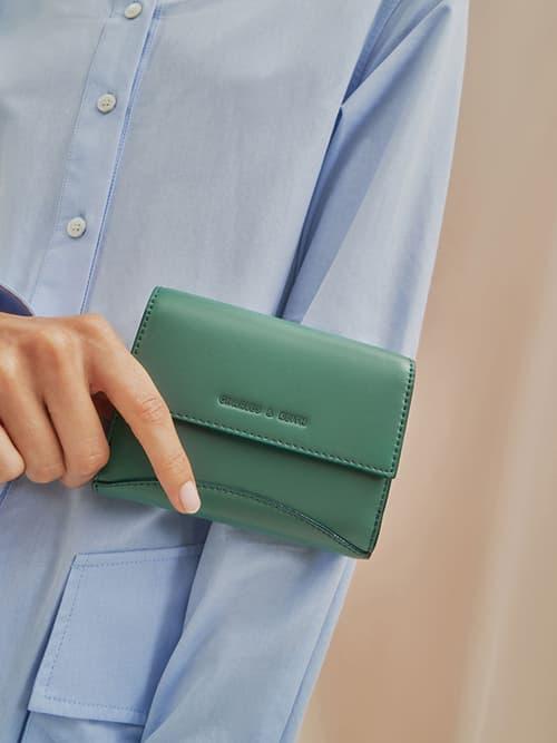 Classic Push-Lock Mini Wallet, Nude