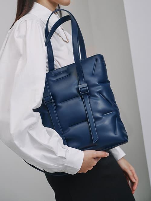 Puffer Double Handle Tote Bag, Dark Blue