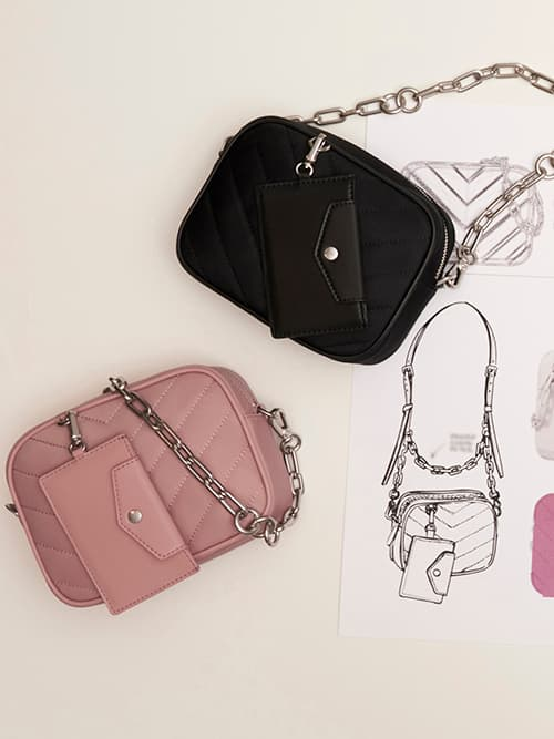 Sonia Recycled Nylon Boxy Bag, Pink, Black