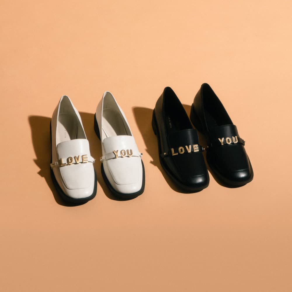 Women's 'Love You' loafer flats in black and white - CHARLES & KEITH