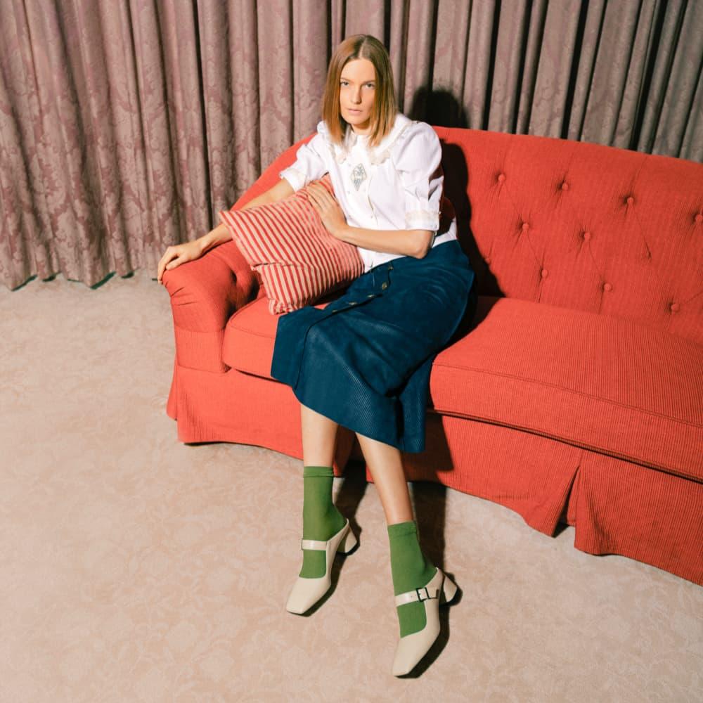 Women's Mary Jane block heel mules in chalk - CHARLES & KEITH