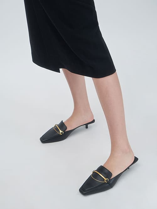 Metallic Accent Loafer Mules, Black