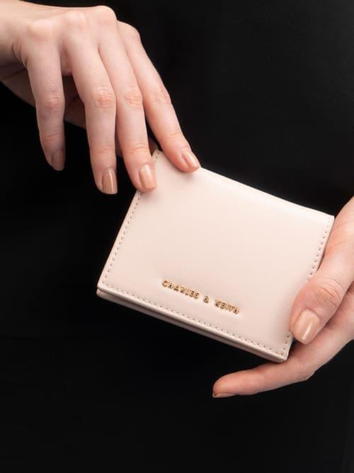 素面摺疊短夾,淺粉色