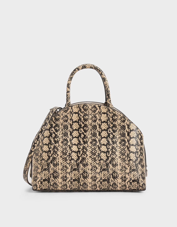 Women's beige large dome bag