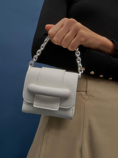 Chain Handle Short Wallet, White