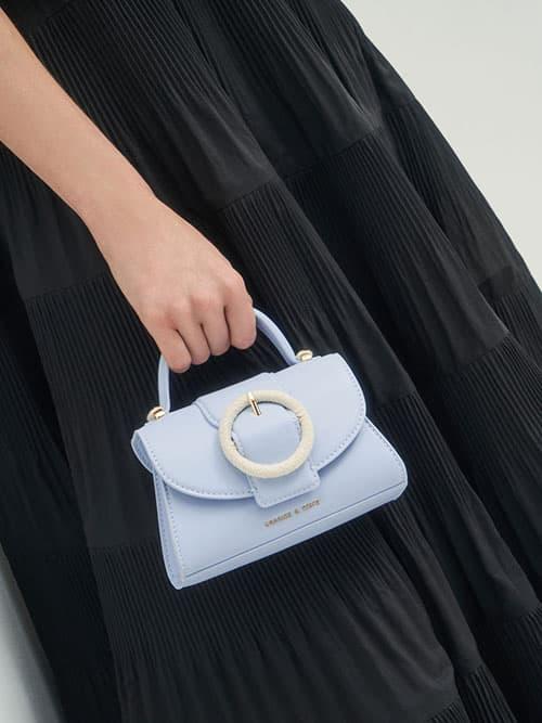 編織圓釦手提包,淺藍色