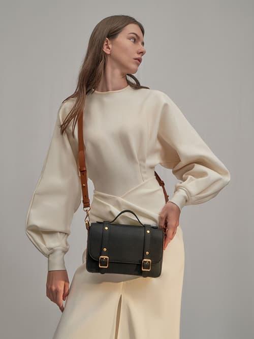 Satchel Messenger Bag, Black
