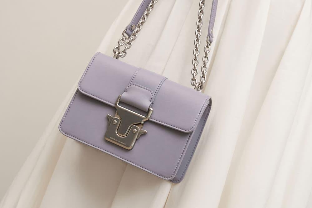 Push-Lock Shoulder Bag, Purple