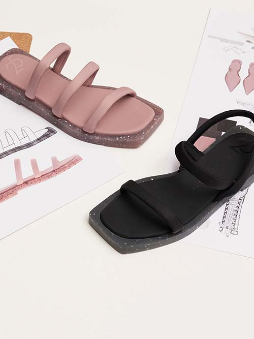 The Anniversary Series: Arabella Recycled Nylon Slingback Sandals, Black; The Anniversary Series: Arabella Recycled Nylon Slide Sandals, Pink