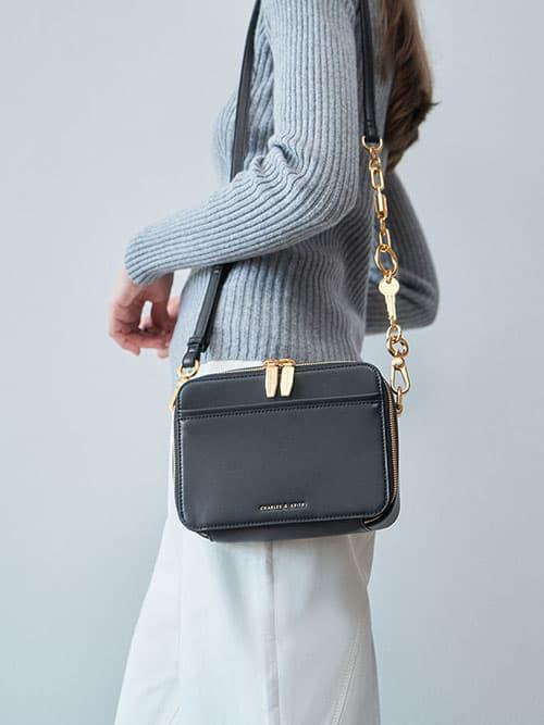 Chunky Chain Handle Two-Way Zip Crossbody Bag, Black