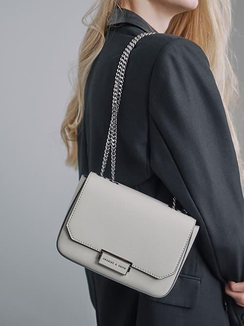 Double Chain Link Crossbody Bag, Grey