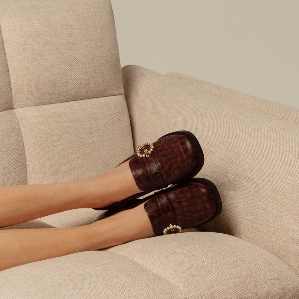 Women's brown beaded accent croc-effect loafer pumps - CHARLES & KEITH