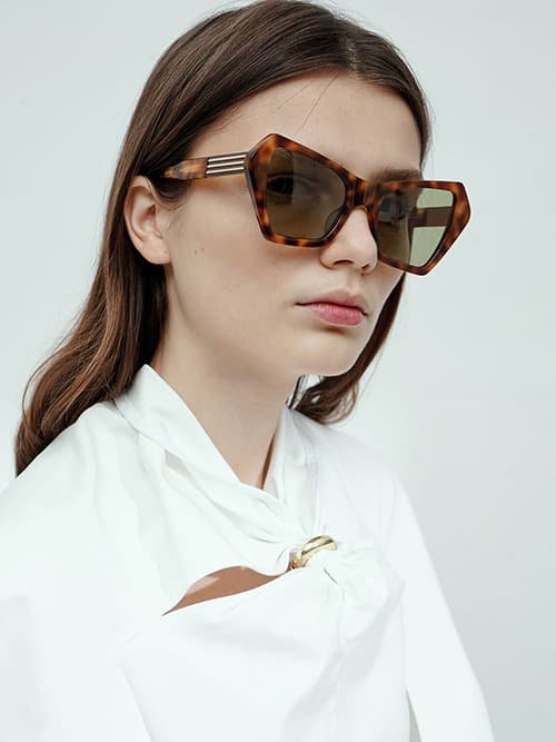 Geometric Frame Tortoiseshell Sunglasses, T. Shell