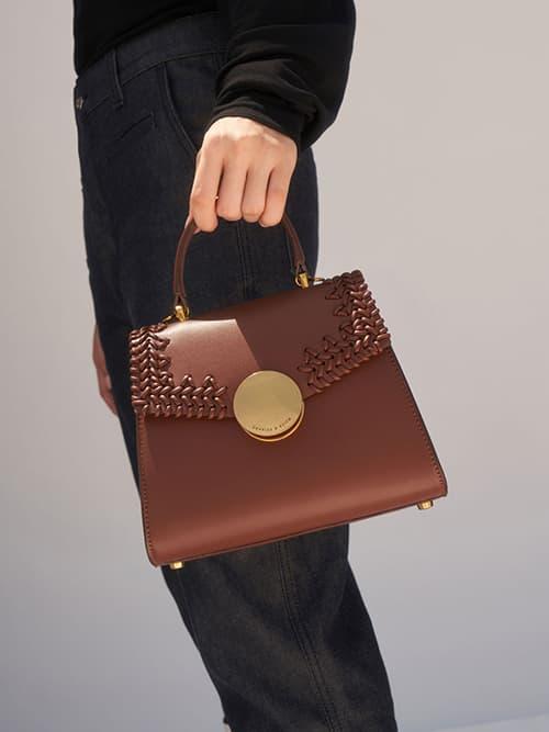Woven Top Handle Bag, Chocolate