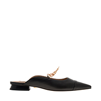 Leather Chain Link Mule Flats