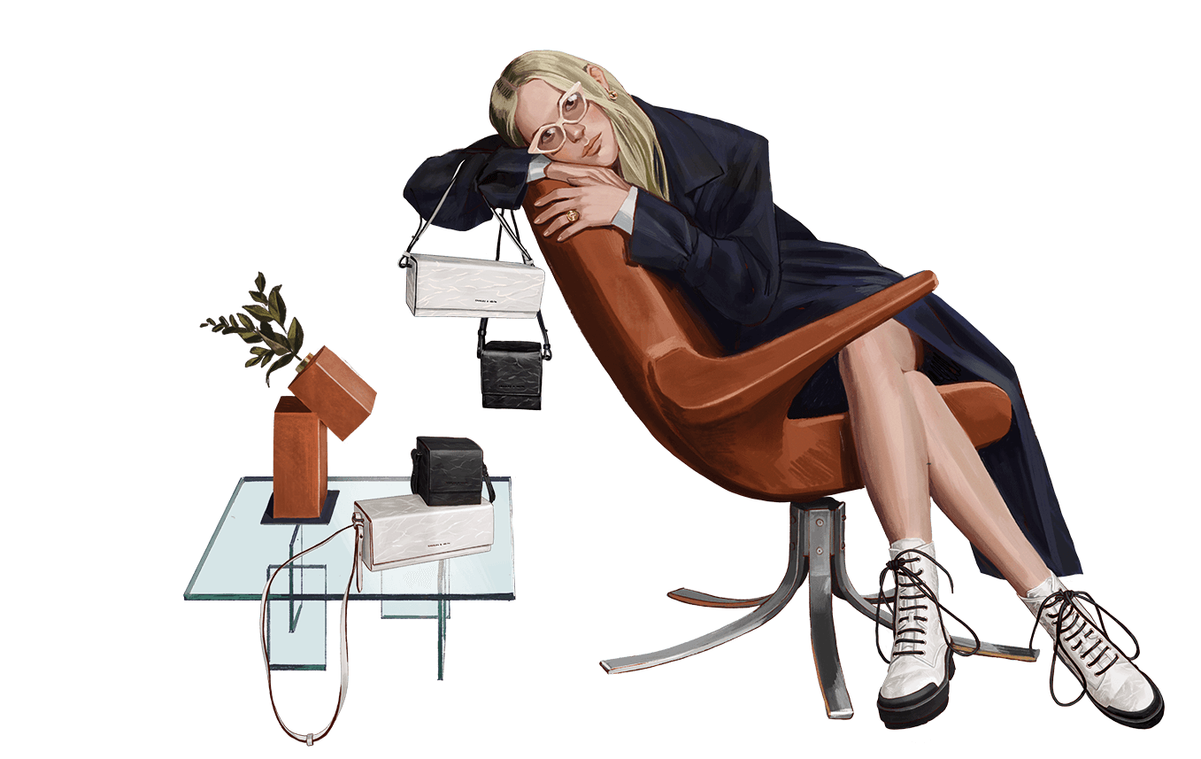A compilation of illustrations from the CHARLES & KEITH Fall Winter 2020 campaign - CHARLES & KEITH - Web - Model 4