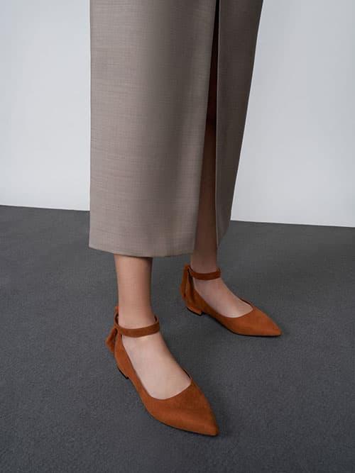 Textured Ankle Strap Ballerina Flats, Cognac