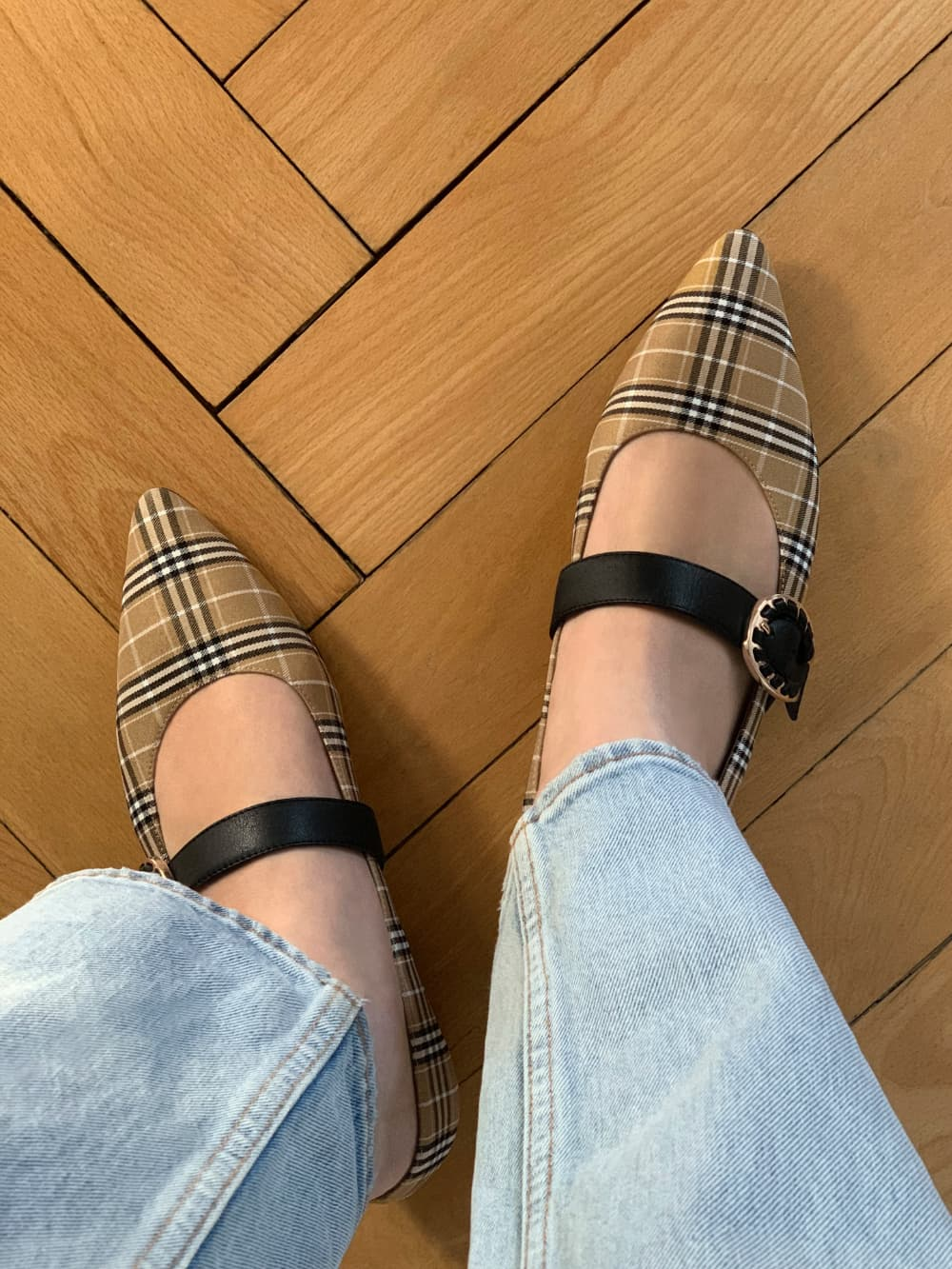 Women's multicoloured leather check print buckle Mary Janes - CHARLES & KEITH