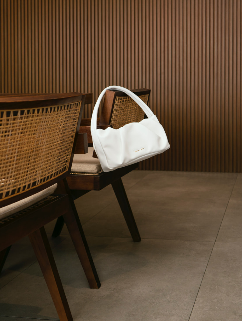 Women's ruched top handle bag in white - CHARLES & KEITH