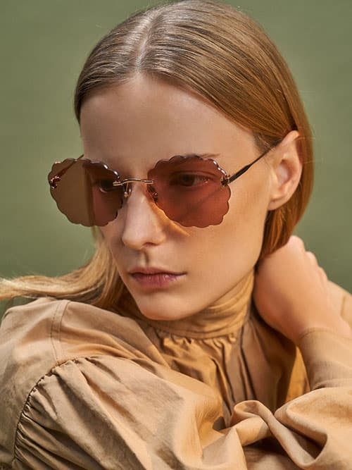 Scalloped Butterfly Sunglasses, Rose Gold