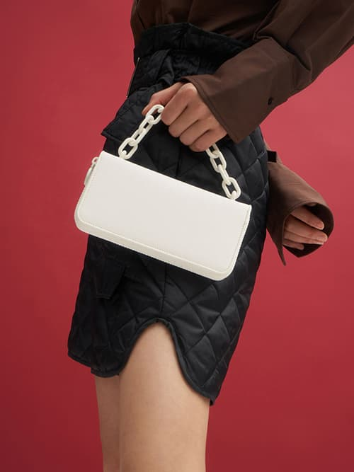 Chain Link Long Wallet, White