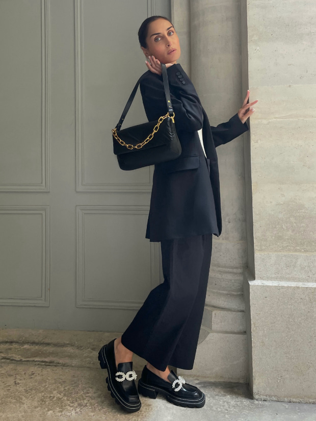 Women's Zadie padded shoulder bag in black and Perline beaded platform loafers in black - CHARLES & KEITH