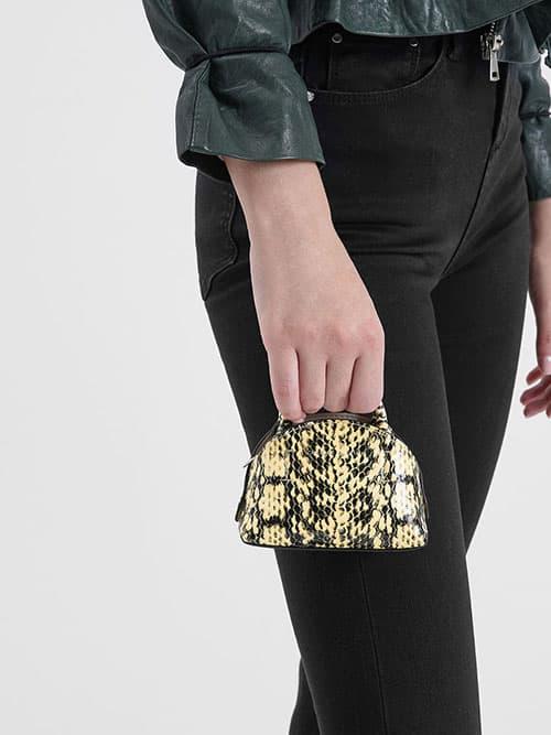 Snake Print Mini Dome Pouch, Yellow