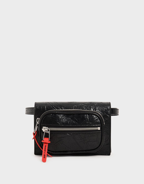 Women's black wrinkled effect mini rectangle crossbody bag – CHARLES & KEITH