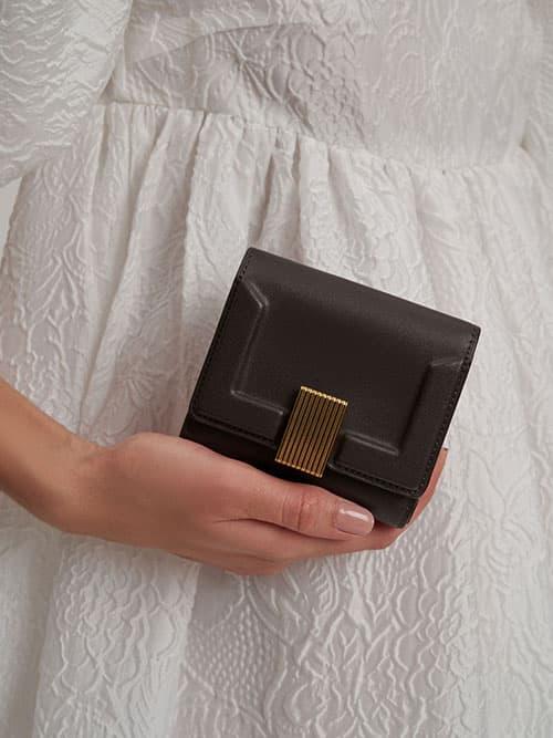 Metallic Turn-Lock Short Wallet, Dark Oak