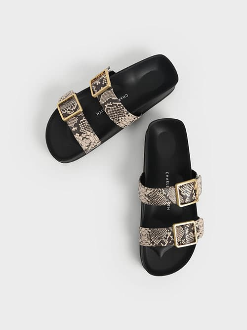 Snake Print Buckle Strap Slide Sandals, Animal Print Natural