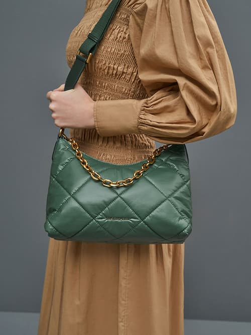 Puffy Quilted Chain Handle Bag, Dark Green