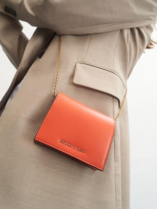 子母扣摺疊短夾,橘色