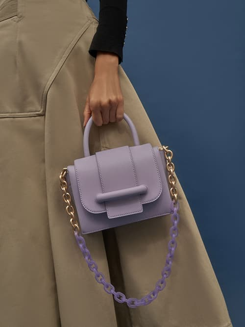 Chain Strap Mini Bag, Lilac